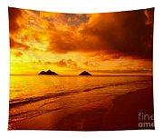 Fiery Lanikai Beach Tapestry
