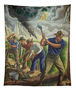 Fighting Forest Fire Tapestry