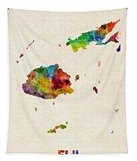 Fiji Watercolor Map Tapestry