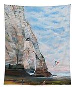 Fillette Au Cerf Volant - Etretat Tapestry