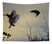Finches Silhouette With Leaves 5 Tapestry