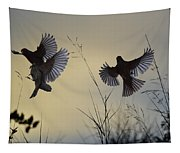 Finches Silhouette With Leaves 6 Tapestry