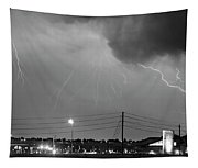 Fire Rescue Station 67  Lightning Thunderstorm Black And White Tapestry