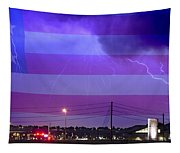 Fire Rescue Station 67  Lightning Thunderstorm With Usa Flag Tapestry