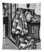 Fireman - Always Ready - Black And White Tapestry