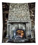 Fireplace At The Lodge Vertical Tapestry