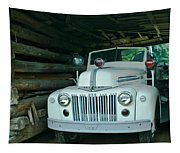 Firetruck In A Barn Tapestry