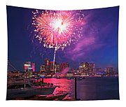 Fireworks Over The Boston Skyline Boston Harbor Illumination Tapestry
