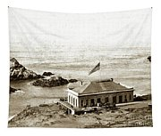 First Cliff House  View Of Ropes From The Cliff House To Seal Rock Circa 1865 Tapestry