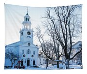 First Parish Church Manchester Ma North Winter Snow Tapestry