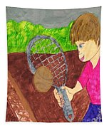 First Time For Tennis Tapestry