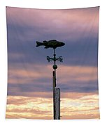 Fish Weather Vane At Sunset Tapestry