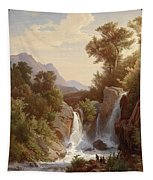 Fishermen By The Waterfall Tapestry