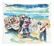 Fishermen In Praia De Mira Tapestry