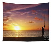 Fishing At Sunset Tapestry