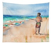 Fishing At The Beach Watercolor Tapestry