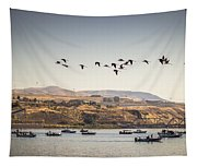 Fishing Boats And Blue Herons Tapestry