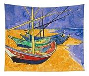 Fishing Boats On The Beach At Saintes Maries De La Mer Tapestry