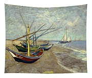 Fishing Boats On The Beach Tapestry