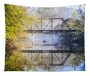 Fishing Under The Trestle Tapestry
