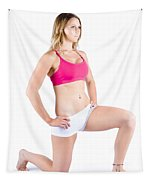 Fitness Woman Stretching Over White Tapestry