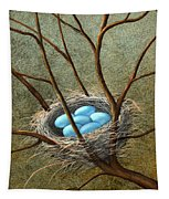 Five Blue Eggs Tapestry