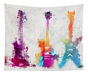 Five Colored Guitars Tapestry