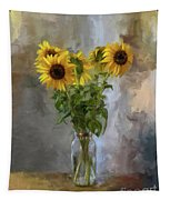 Five Sunflowers Centered Tapestry