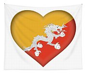 Flag Of Bhutan Heart Tapestry