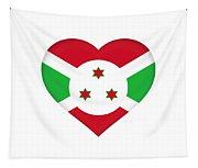 Flag Of Burundi Heart Tapestry