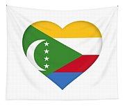 Flag Of  Comoros Heart Tapestry