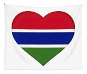 Flag Of Gambia Heart Tapestry