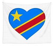 Flag Of The Congo Heart Tapestry