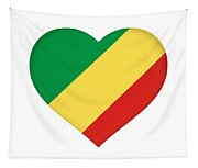Flag Of The Republic Of The Congo Heart Tapestry