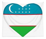 Flag Of Uzbekistan Heart Tapestry