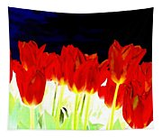 Flaming Red Tulips Tapestry