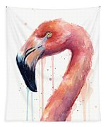Flamingo Watercolor Illustration Tapestry