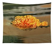 Floating Beauty - Hot Orange Chrysanthemum Blossom In A Silky Fountain Tapestry