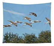 Flock Of White Ibises Tapestry