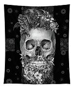 Floral Beard Skull 3 Tapestry