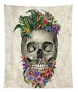 Floral Beard Skull Tapestry
