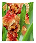 Floral Bearded Iris With Rain Drops  Tapestry
