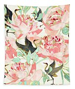 Floral Cranes Tapestry