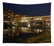 Florence Italy Night Magic - A Glamorous Evening At Ponte Vecchio Tapestry
