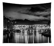 Florence Ponte Vecchio At Sunset Monochrome Tapestry