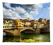 Florence -  Ponte Vecchio From The Northwestern Bank - Vintage Tapestry