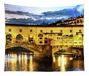 Florence - Ponte Vecchio Sunset From The Oltrarno - Vintage Version Tapestry