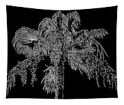 Florida Thatch Palm In Black And White Tapestry