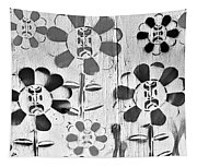 Flower Face B W Tapestry