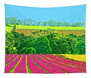 Flower Farm And Hills Tapestry